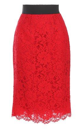Кружевная юбка-карандаш с разрезом Dolce & Gabbana красная | Фото №1