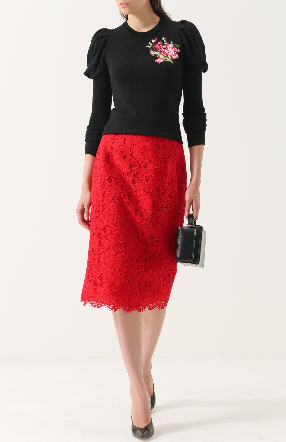 Кружевная юбка-карандаш с разрезом Dolce & Gabbana красная | Фото №2