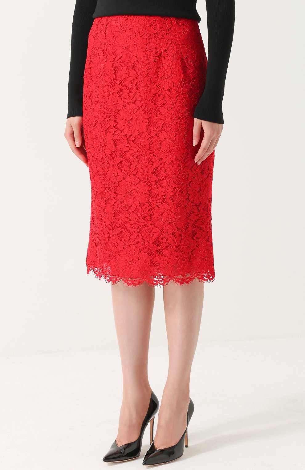 Кружевная юбка-карандаш с разрезом Dolce & Gabbana красная | Фото №3
