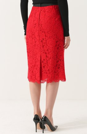 Кружевная юбка-карандаш с разрезом Dolce & Gabbana красная | Фото №4
