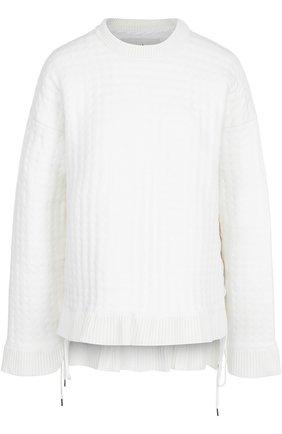 Пуловер свободного кроя со шнуровкой и круглым вырезом   Фото №1