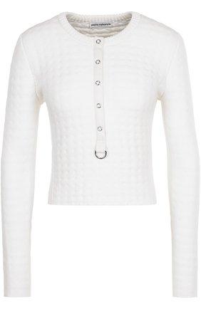 Пуловер факутрной вязки с круглым вырезом   Фото №1