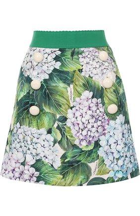 Мини-юбка с цветочным принтом и широким поясом Dolce & Gabbana зеленая | Фото №1