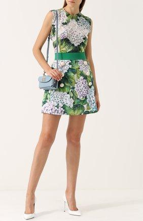 Мини-юбка с цветочным принтом и широким поясом Dolce & Gabbana зеленая | Фото №2