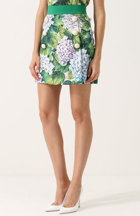 Мини-юбка с цветочным принтом и широким поясом Dolce & Gabbana зеленая | Фото №3