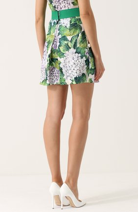 Мини-юбка с цветочным принтом и широким поясом Dolce & Gabbana зеленая | Фото №4