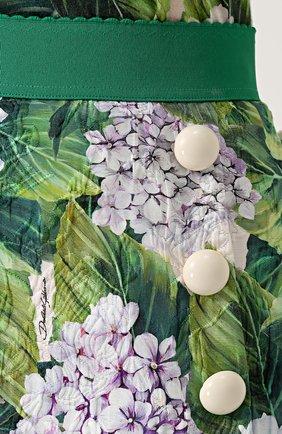 Мини-юбка с цветочным принтом и широким поясом Dolce & Gabbana зеленая | Фото №5