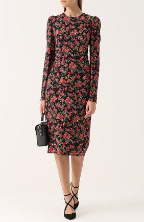 Приталенное платье-миди с цветочным принтом Dolce & Gabbana красное | Фото №2