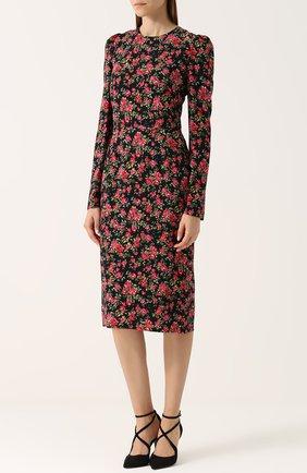 Приталенное платье-миди с цветочным принтом Dolce & Gabbana красное | Фото №3
