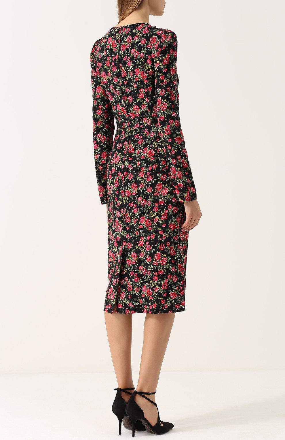 Приталенное платье-миди с цветочным принтом Dolce & Gabbana красное | Фото №4