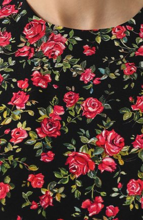 Приталенное платье-миди с цветочным принтом Dolce & Gabbana красное | Фото №5