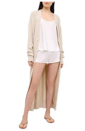 Женские шелковые мини-шорты LA PERLA кремвого цвета, арт. 0020290 | Фото 2