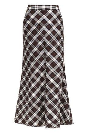 Расклешенная юбка-макси в клетку Walk of Shame коричневая | Фото №1