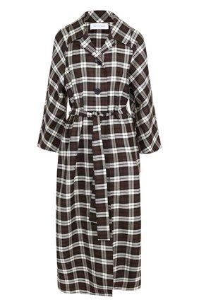 Платье-рубашка в клетку с поясом Walk of Shame коричневое | Фото №1