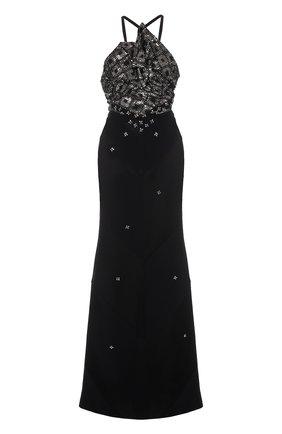 Приталенное платье-макси с декорированным лифом   Фото №1