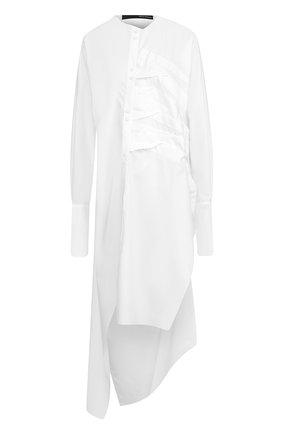Хлопковое платье-рубака асимметричного кроя   Фото №1