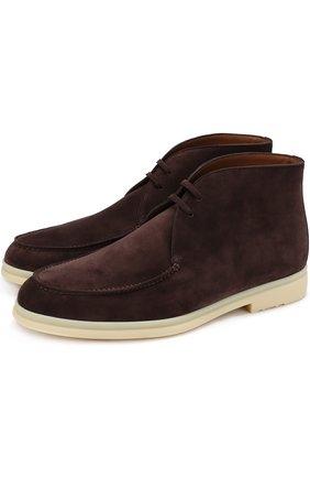Замшевые ботинки Walk And Walk на шнуровке | Фото №1