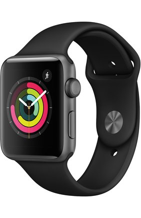 Смарт-часы Apple Watch Series 3 (GPS) 42mm Space Gray Aluminum Case with Black Sport Band | Фото №1