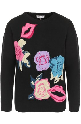 Шерстяной пуловер с принтом и круглым вырезом | Фото №1