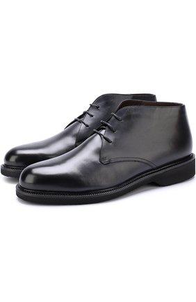 Кожаные ботинки на шнуровке с внутренней меховой отделкой
