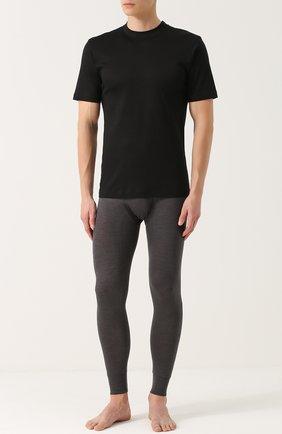Мужские хлопковая футболка с круглым вырезом ZIMMERLI черного цвета, арт. 220-5126 | Фото 2