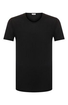 Мужская шелковая футболка ZIMMERLI черного цвета, арт. 852-1406 | Фото 1