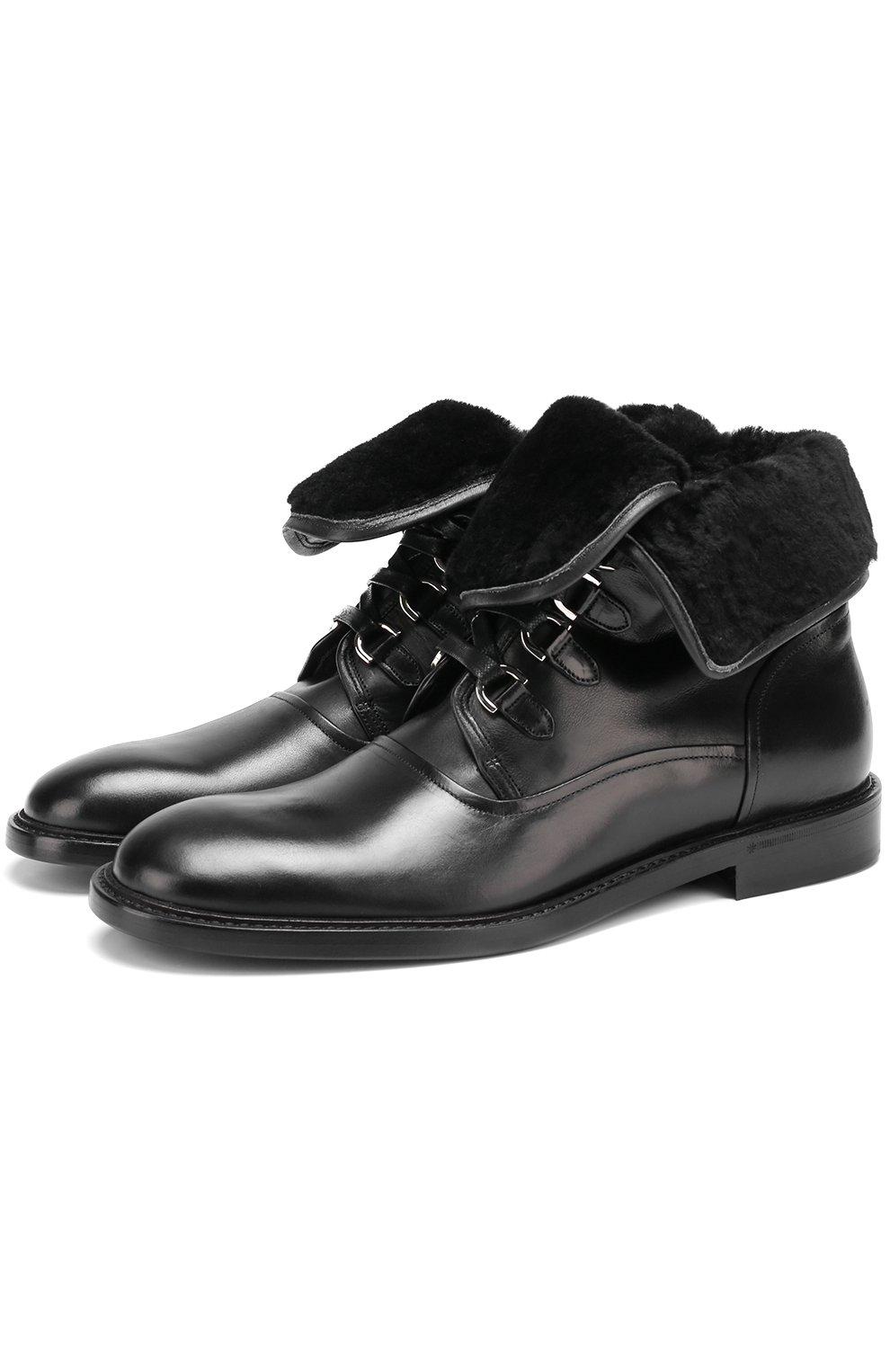 Кожаные ботинки Milano с внутренней меховой отделкой | Фото №1