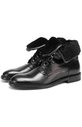 Кожаные ботинки Milano с внутренней меховой отделкой Dolce & Gabbana черные | Фото №1