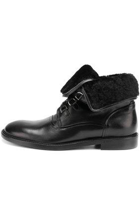 Кожаные ботинки Milano с внутренней меховой отделкой Dolce & Gabbana черные | Фото №3
