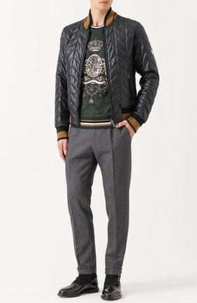 Брюки прямого кроя из смеси хлопка и шерсти Dolce & Gabbana серые | Фото №2