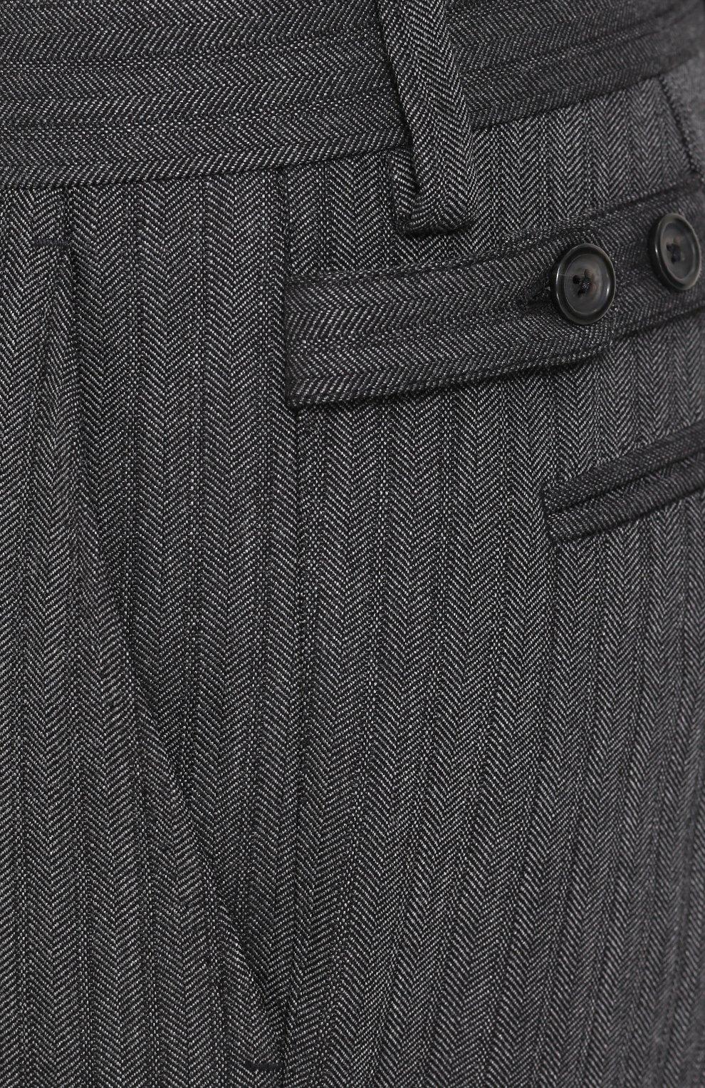 Брюки прямого кроя из смеси хлопка и шерсти Dolce & Gabbana серые | Фото №5