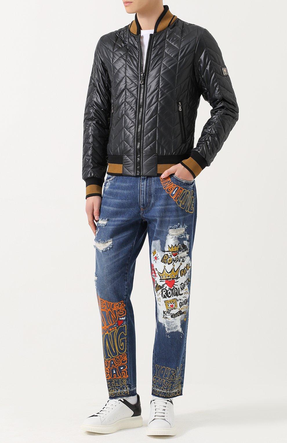 Джинсы прямого кроя с принтом Dolce & Gabbana синие | Фото №2