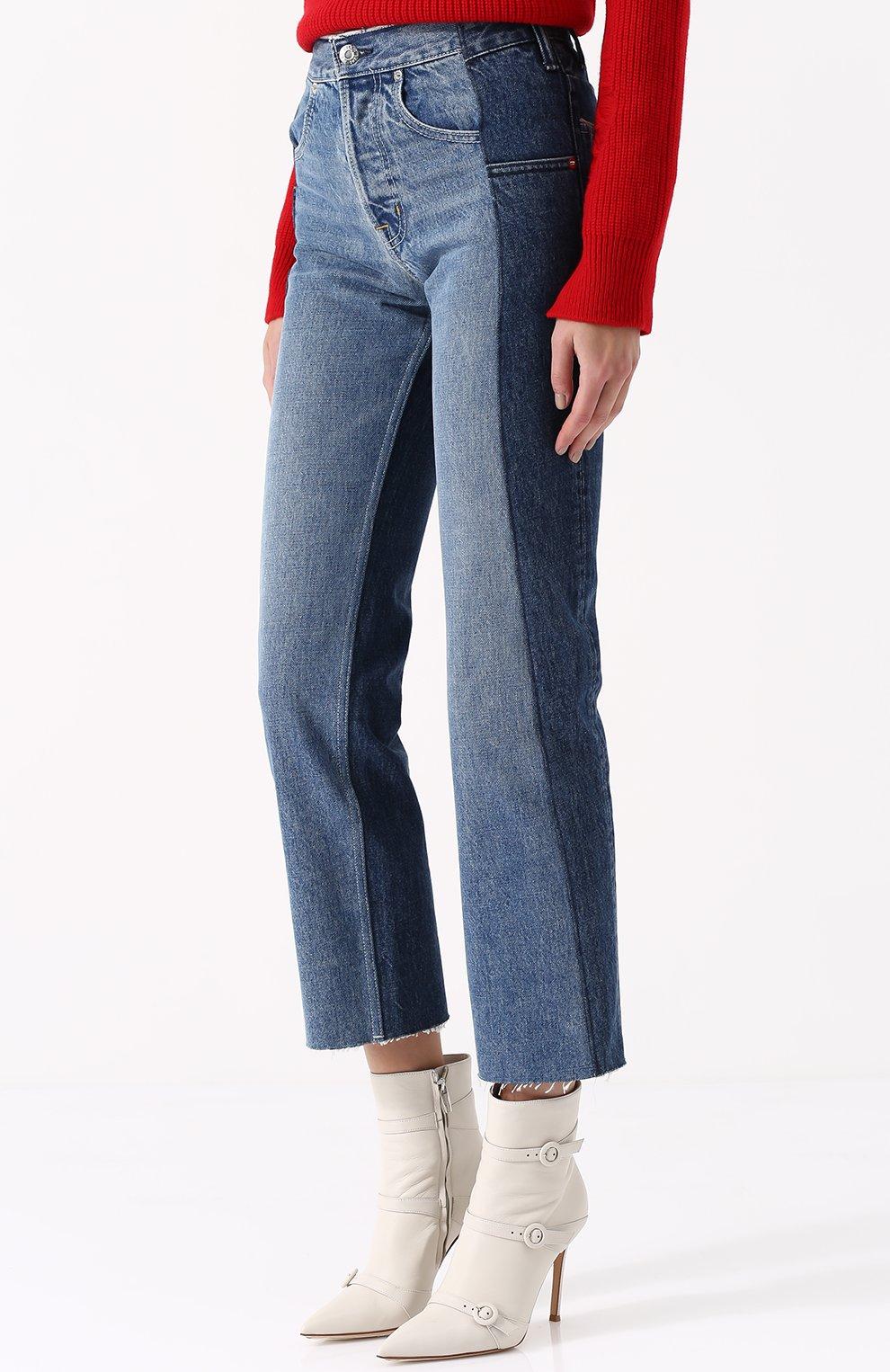 Укороченные джинсы прямого кроя с потертостями | Фото №3