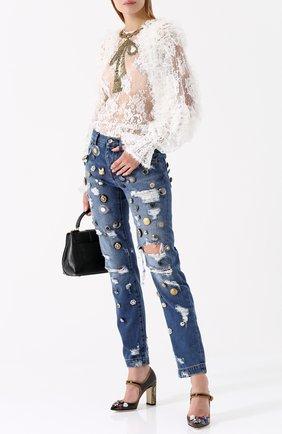 Джинсы с потертостями и декоративной отделкой Dolce & Gabbana синие   Фото №2
