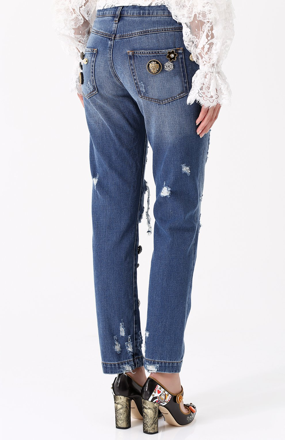 Джинсы с потертостями и декоративной отделкой Dolce & Gabbana синие   Фото №4