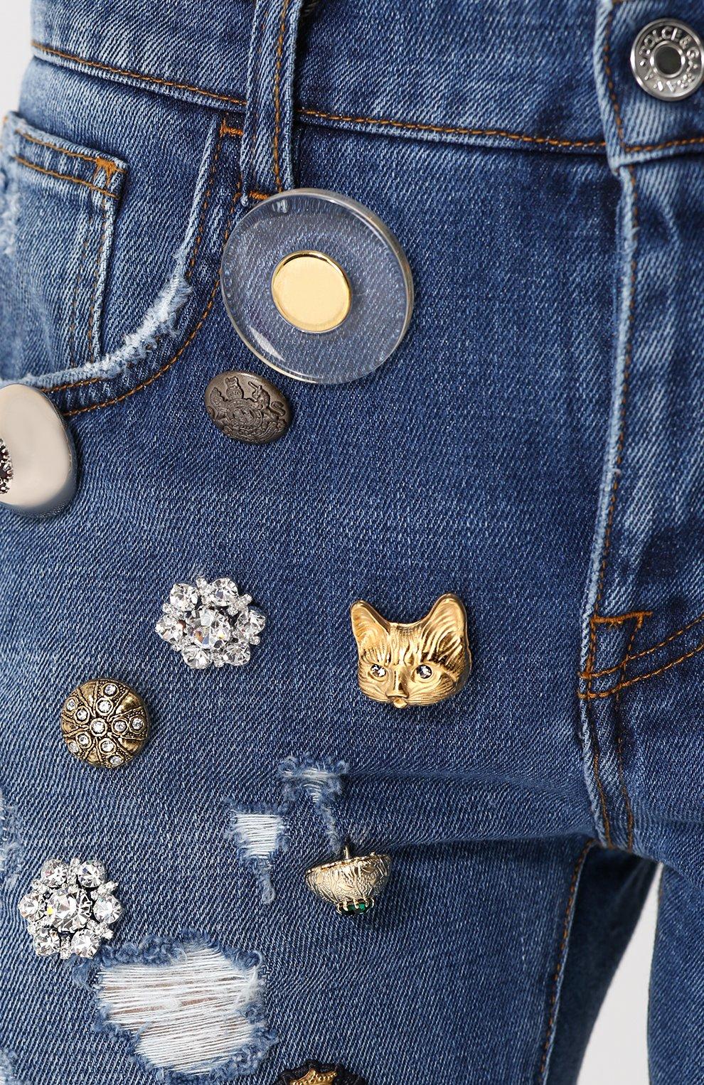 Джинсы с потертостями и декоративной отделкой Dolce & Gabbana синие   Фото №5