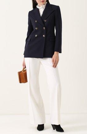 Расклешенные брюки со стрелками и карманами Alexachung кремовые   Фото №1