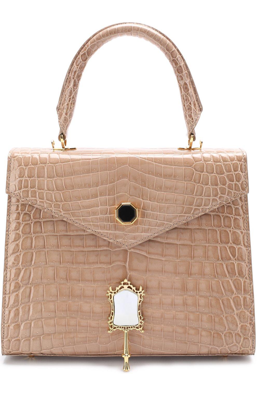 3ed8a0c5c972 Женская сумка alla 28 из кожи крокодила ETHAN K бежевая цвета ...