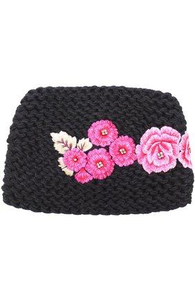 Повязка из смеси шерсти и шелка с цветочной вышивкой Jennifer Behr светло-серого цвета   Фото №1