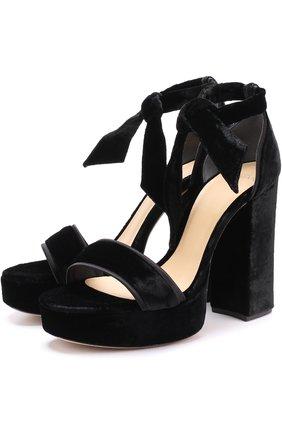 Бархатные босоножки Celine на устойчивом каблуке Alexandre Birman черные   Фото №1