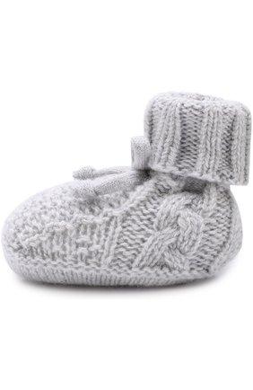 Носки из кашемира фактурной вязки Baby T светло-серого цвета | Фото №1