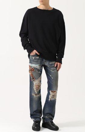 Джинсы прямого кроя с потертостями и вышивкой Faith Connexion синие | Фото №1