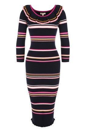 Вязаное платье-футляр в полоску с оборками | Фото №1