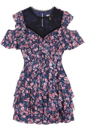 Приталенное мини-платье с цветочным принтом и оборками | Фото №1