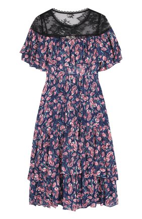 Приталенное платье-миди с цветочным принтом и оборками | Фото №1