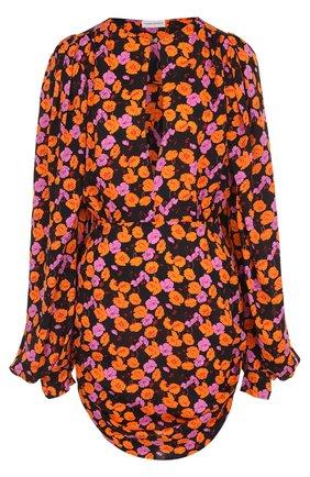 Приталенное шелковое мини-платье с принтом | Фото №1