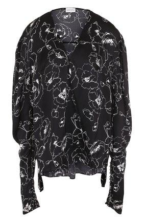 Шелковая блуза с V-образным вырезом и принтом | Фото №1
