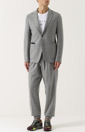 Однобортный пиджак из смеси кашемира и шелка Zegna Couture серый | Фото №1