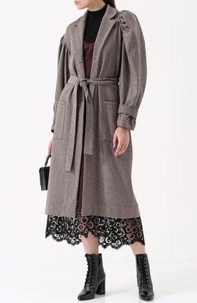 Шерстяное пальто со спущенным рукавом и поясом Victoria/Tomas коричневого цвета   Фото №1