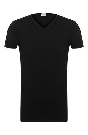 Мужская футболка из смеси хлопка и вискозы с v-образным вырезом ZIMMERLI черного цвета, арт. 186-1422 | Фото 1